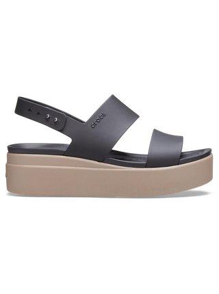 Crocs čierne na platforme sandále Brooklyn Low Wedge W Black/Mushroom