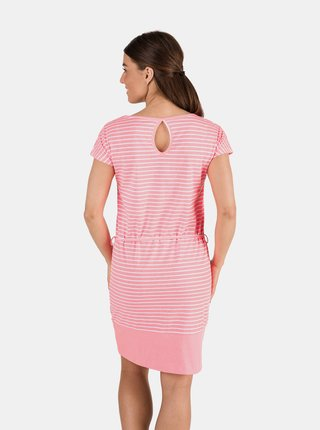 Ružové dámske pruhované šaty so zaväzovaním SAM 73
