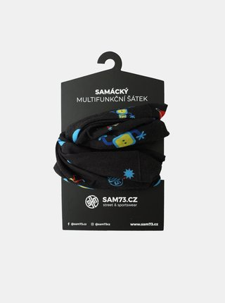 Čierna chlapčenská vzorovaná multifunkčná šatka SAM 73