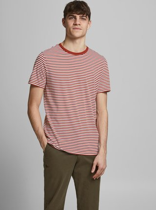 Hnědé pruhované tričko Jack & Jones Track