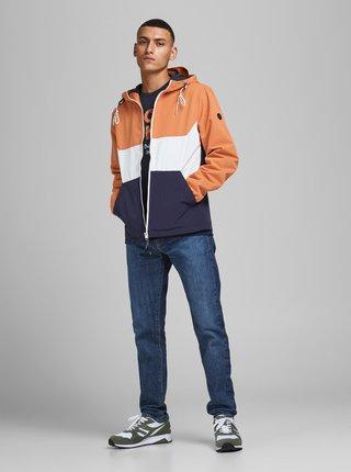 Modro-oranžová ľahká bunda s kapucou Jack & Jones Luke