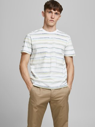 Bílé pruhované tričko Jack & Jones Timm