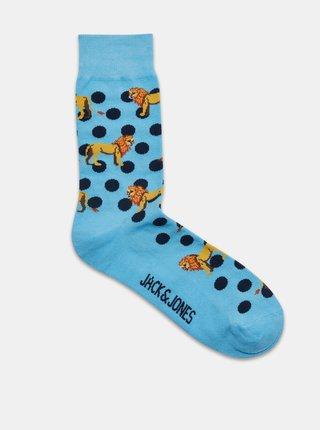 Sada pěti párů modrých vzorovaných ponožek Jack & Jones Lion