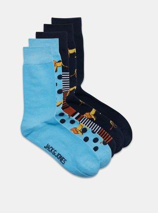 Sada piatich párov modrých vzorovaných ponožiek Jack & Jones Lion