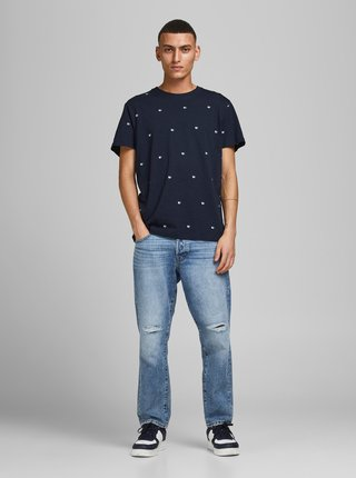 Tmavomodré vzorované tričko Jack & Jones