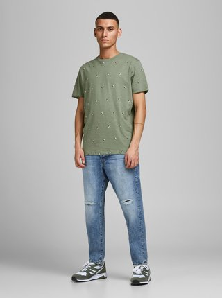 Zelené vzorované tričko Jack & Jones