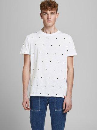 Biele vzorované tričko Jack & Jones