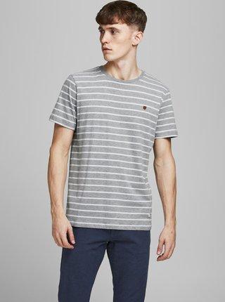 Šedé pruhované tričko Jack & Jones Tom