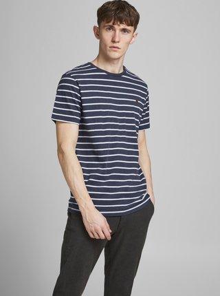 Tmavomodré pruhované tričko Jack & Jones Tom