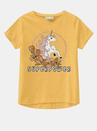 Žluté holčičí tričko s potiskem name it Vix