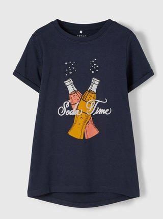 Tmavomodré dievčenské tričko s potlačou name it Fairy