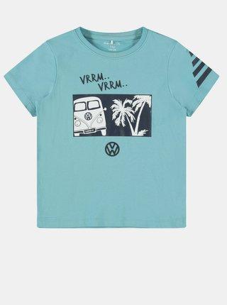 Svetlomodré chlapčenské tričko s potlačou name it Linus