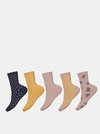 Sada pěti párů holčičích vzorovaných ponožek ve žluté a růžové barvě name it Vinni