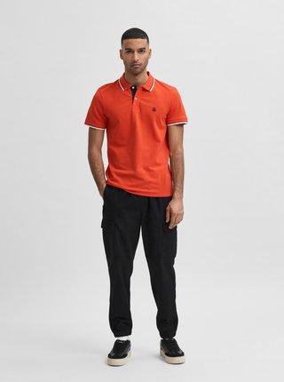 Oranžová polokošeľa Selected Homme