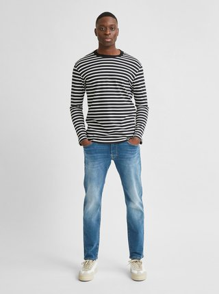 Čierne pruhované tričko Selected Homme Colman