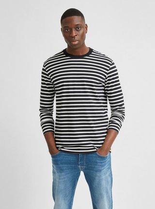 Černé pruhované tričko Selected Homme Colman