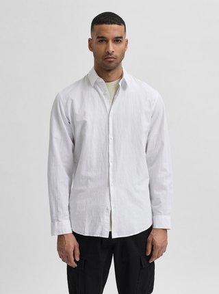 Biela košeľa s prímesou ľanu Selected Homme