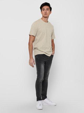 Béžové vzorované tričko ONLY & SONS Baxel