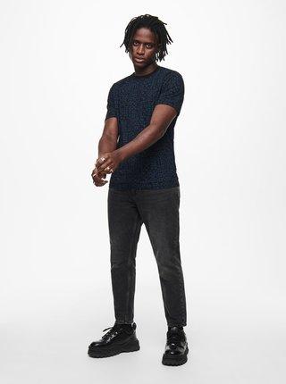 Čierne vzorované tričko ONLY & SONS Baxel