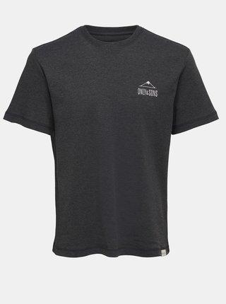 Černé tričko s potiskem ONLY & SONS Nadeem