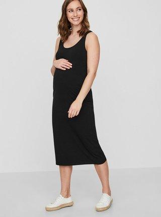 Čierne tehotenské basic midišaty Mama.licious Lea