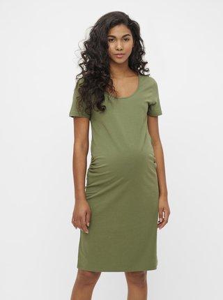 Zelené těhotenské basic šaty Mama.licious Lea