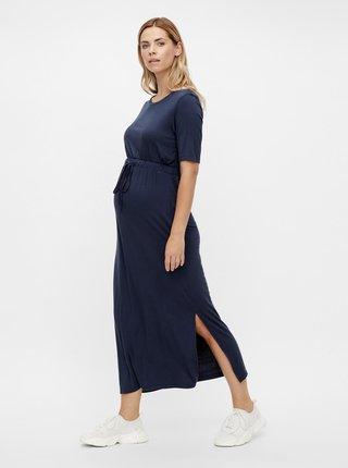 Tmavě modré těhotenské maxišaty s rozparky Mama.licious Alison