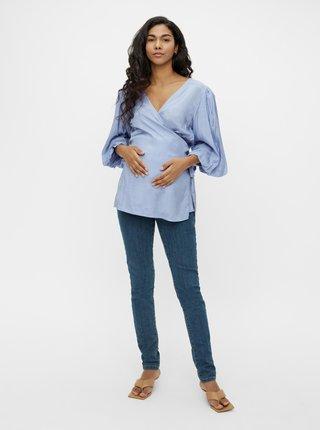 Světle modrá těhotenská halenka se zavazováním Mama.licious Mariah