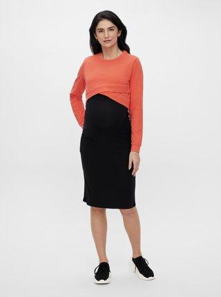 Oranžová tehotenská krátka mikina Mama.licious Johana