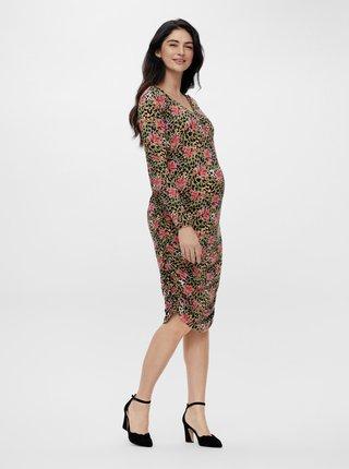 Khaki těhotenské vzorované pouzdrové šaty Mama.licious Charo