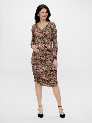 Kaki tehotenské vzorované púzdrové šaty Mama.licious Charo