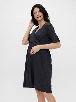 Tmavomodré tehotenské/dojčiace šaty Mama.licious Reva