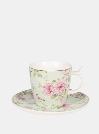 Světle zelený květovaný hrnek s talířkem Clayre & Eef 160 ml