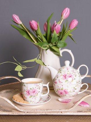 Bílý květovaný hrnek s talířkem Clayre & Eef 160 ml