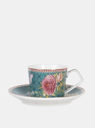 Modrý kvetovaný hrnček s tanierikom Clayre & Eef 200 ml