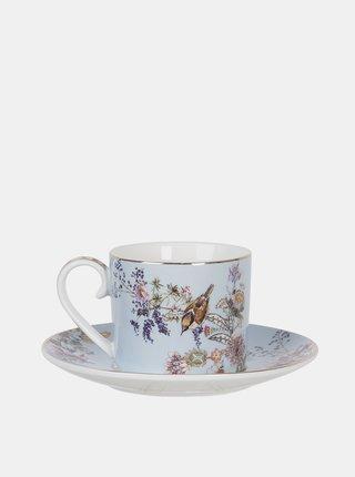 Svetlomodrý kvetovaný hrnček s tanierikom Clayre & Eef 220 ml