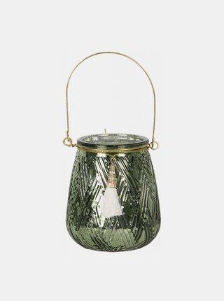 Zelený skleněný svícen Clayre & Eef