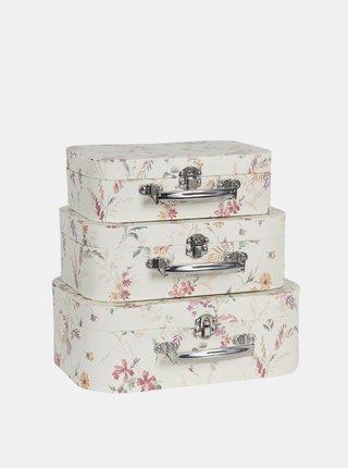 Sada tří bílých květovaných kufříků Clayre & Eef