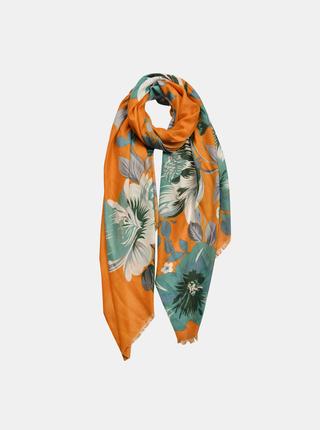 Zeleno-oranžová kvetovaná šatka Clayre & Eef