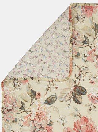 Krémová kvetovaná deka Clayre & Eef 140 x 220 cm