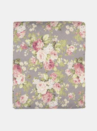 Šedá kvetovaná deka Clayre & Eef 140 x 220 cm