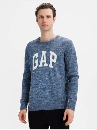 Modrý pánský svetr GAP Logo intarsia crew
