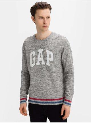 Šedý pánský svetr GAP Logo intarsia crew