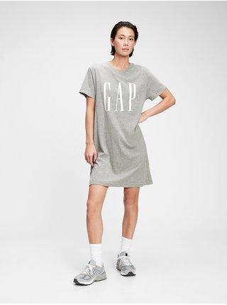 Šedé dámské šaty GAP Logo tall ss dress