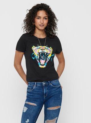 Černé tričko s potiskem ONLY Faye