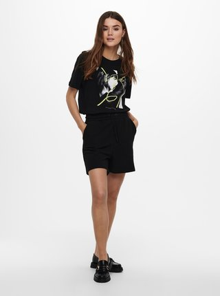 Černé tričko s potiskem ONLY Fancy