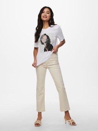 Biele tričko s potlačou ONLY Fancy