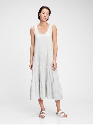 Šedé dámské šaty sl tiered maxi dress