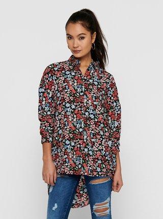 Červeno-čierna kvetovaná košeľa ONLY Tamara