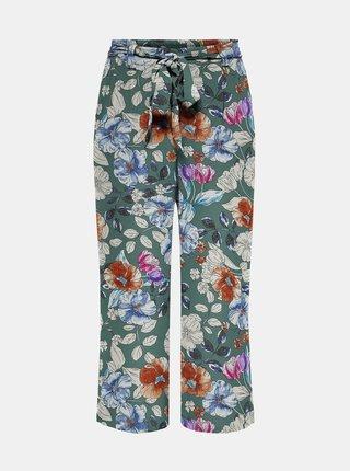 Zelené květované zkrácené kalhoty ONLY Nova